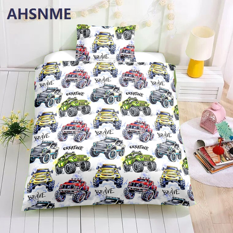 AHSNME Special Promotion! ! ! Offroad Racing Bedding Set Cartoon Toy Cars Pattern Children super love gift Quilt CoverAHSNME Special Promotion! ! ! Offroad Racing Bedding Set Cartoon Toy Cars Pattern Children super love gift Quilt Cover