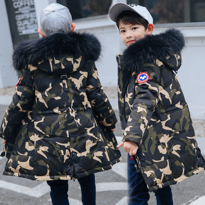 Camouflage Children Winter Coats Jackets For Boys Duck Down Coat Kids Warm Thick Fur Collar Outerwear Long Parka Teens Snow Wear winter jackets for men fashion plus size black down coat new arrival thick warm bodycon long sleeve stand collar parka hot sale
