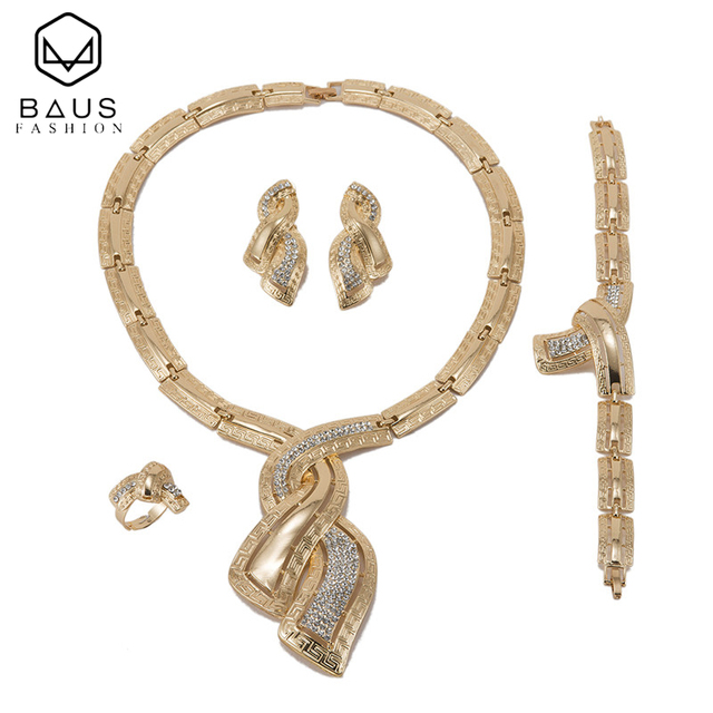 BAUS exquisite Dubai Gold Color Jewelry Sets bridal jewelry sets