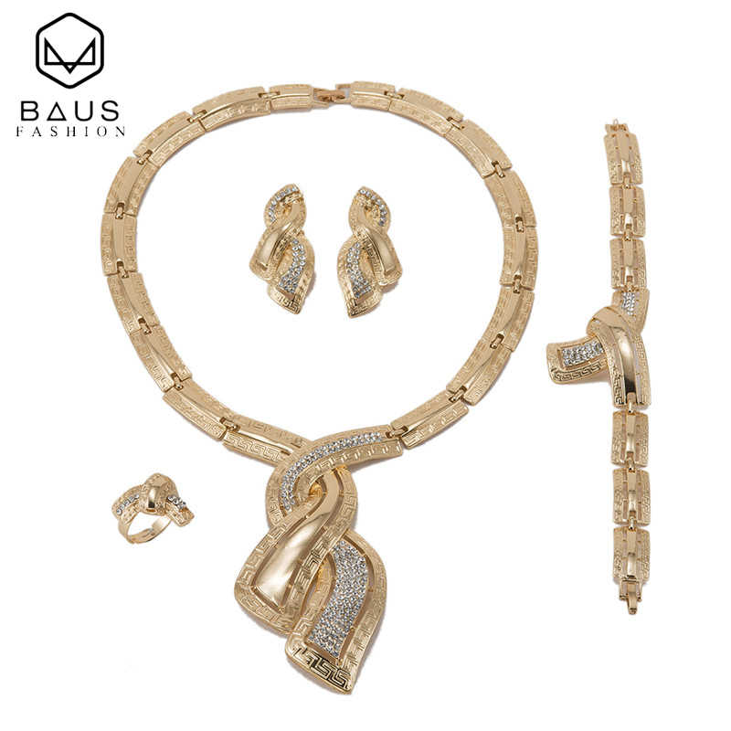 BAUS exquisite Dubai Gold Color Jewelry Sets bridal jewelry sets costume Design Nigerian Women Wedding Jewelry turkish jewelry