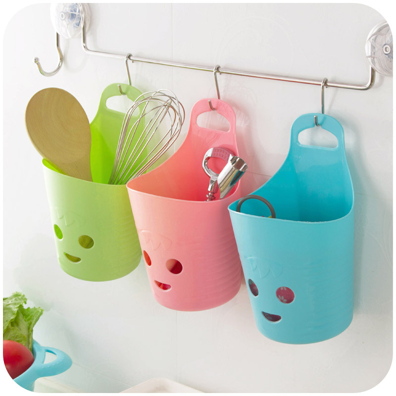 vanzlife smiling face hanging storage baskets perforated plastic basket bathroom storage basket kitchen chopsticks cage(  sc 1 st  My Web Value | Decoration ideas blog. : plastic storage cups  - Aquiesqueretaro.Com