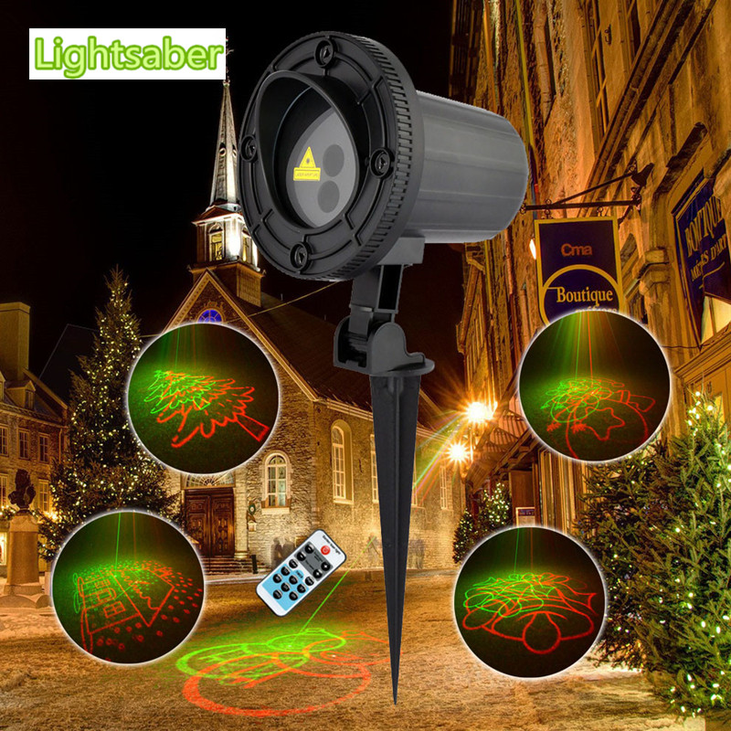 цена на Red Green Remote 8 Big Xmas Patterns Laser Projector Light Outdoor IP65 Waterproof Christmas lights Santa Claus Garden Lights