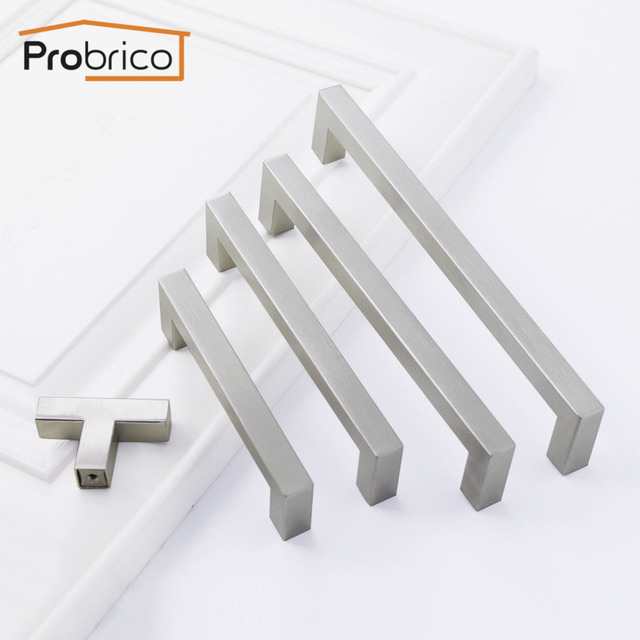 Probrico Square Bar Cabinet Handle 10mm*10mm Stainless Steel Kitchen ...