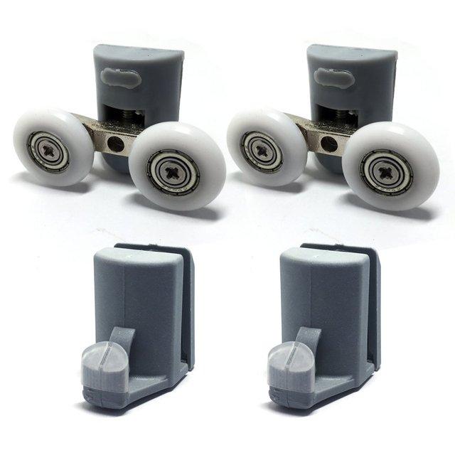 glatte 4 verchromt duschtr rollendusche tr unteren haken - Duschtur Rollen