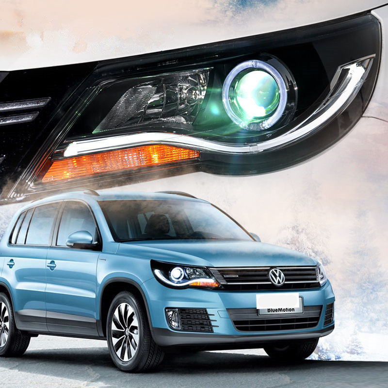 Car Styling LED Head Lamp For Volkswagen Tiguan 2010-2014 Halo Projector Headlights Angel Eyes DRL Lens Modify Custom brand new superb led cob angel eyes hid lamp projector lens foglights for vw tiguan 2010 2012