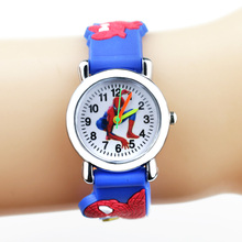 Spiderman Kids Watches Children 3D Rubber Strap Cartoon Quar