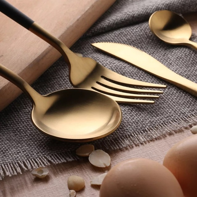 Stainless Steel Flatware Black Gold Set
