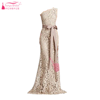 Champagne Lace One Shoulder Evening Dresses Mermaid Elegant Long Prom Dresses Zipper Back Formal Party Gowns