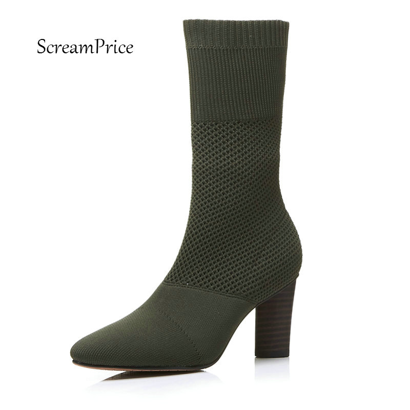 The New Fashion Knitting Thick High Heel Mid Calf Boots Women Slip On Pointed Toe Shoes Black Green Beige solid black winter spring women fringe decoration shoes slip on pointed toe spike high heels mid calf boots women free shipping