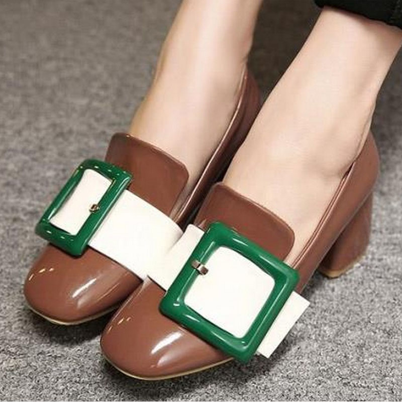 2016 New Spring Summer Retro Med Square Heel font b Women b font Shoes Pumps Patent