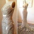 Vestidos de Baile únicas 2016 Plus Size Prata O-pescoço Frisado Lantejoulas Cristal Mermaid Prom Dress Vestido De Festa Longo Custom Made