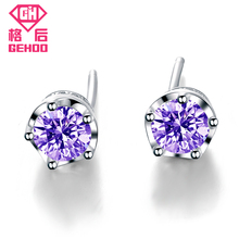 GEHOO Genuine 925 Sterling Sliver Ear Jewelry 6mm Round Crown AAA Cubic Zirconia Crystal Silver Stud Earrings for Women Gifts 1 pair 6mm strawberry crystal ball stud earrings 925 silver needle hypoallergenic birthday lucky stone spring ear jewelry