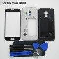 Черный/Белый Полный жилищно Ближний Рамка рамка задняя крышка и Передняя Внешний стекло Для Samsung Galaxy S5 mini G800 (одиночная карта)