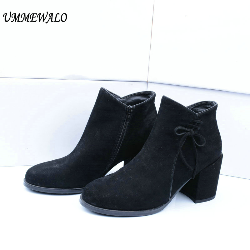 UMMEWALO Boots Women Suede Leather High Heel Boots Qualiy Round Toe Shoes Ladies Casual Autumn Winter Shoes botines mujerUMMEWALO Boots Women Suede Leather High Heel Boots Qualiy Round Toe Shoes Ladies Casual Autumn Winter Shoes botines mujer