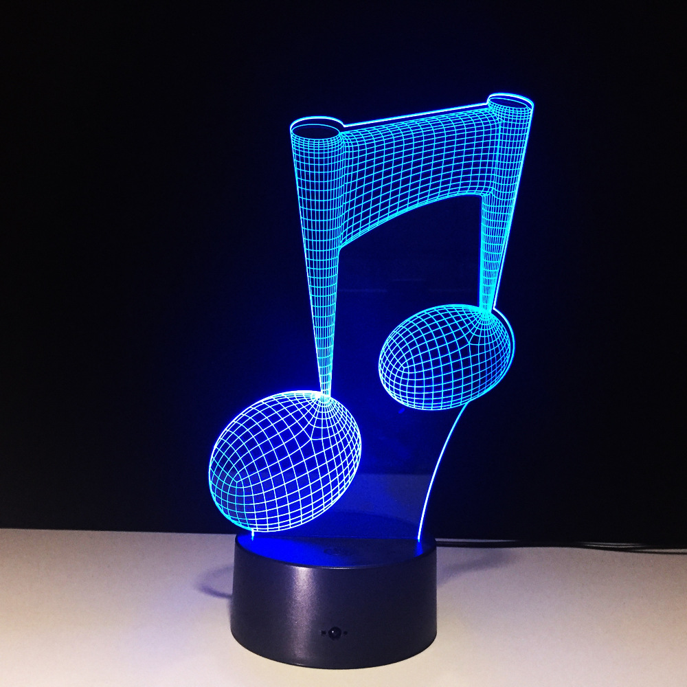 3D Lamp Creative Music Notes LED 3D Night Light Colorful LED Table Desk Lamp Figure Childrens Sleeping