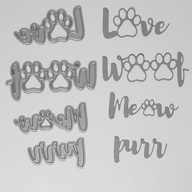 Palabras de garra de perro troquelado de Metal plantillas para Scrapbooking tarjetas de papel manualidades DIY 2018 nuevo