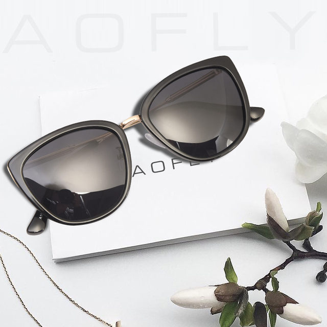 AOFLY BRAND DESIGN New Cat Eye Sunglasses Women Fashion Small Polarized Sunglasses Metal Legs Shades UV400 A105 1