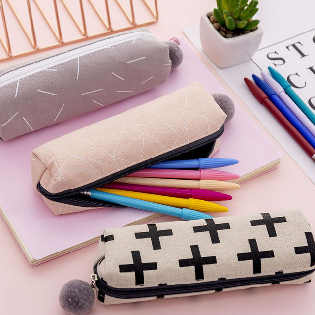 Plush Ball Pencil Case for Girls Cute Canvas Cosmetic bag Pen Bag Stationery Pouch Box kids gift office Supplies zakka 4
