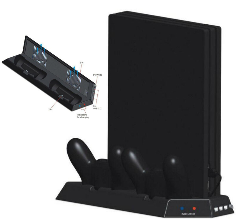 Vertical Stand for PS4 Pro w/ Cooling Fan,Controller Charging Station for Playstation 4 Pro Game Console,Charger for Dualshock 4
