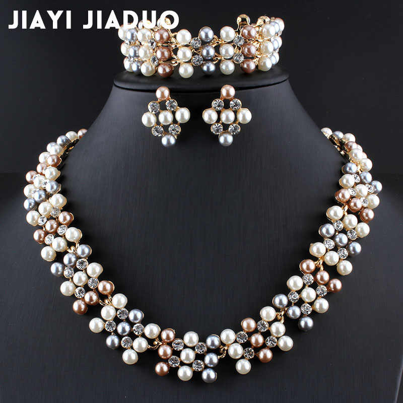 jiayijiaduo bridal  jewelry set for momen imitation pearl gold-color necklace earrings bracelet beads wedding design for women