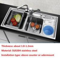 Кухонная раковина многофункциональная Двойная чаша с мусорным баком над столешницей или udermount мойка для мытья овощей 1,2 кухонная раковина