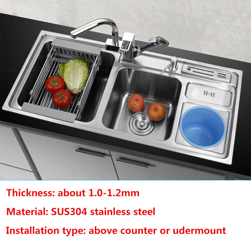 kitchen sink Multifunction double bowl With trash can above counter or udermount sink vegetable washing basin 1.2mm kitchen sinkkitchen sink Multifunction double bowl With trash can above counter or udermount sink vegetable washing basin 1.2mm kitchen sink