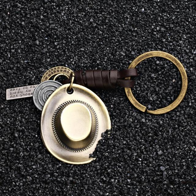 Genuine Leather Keychain Hat