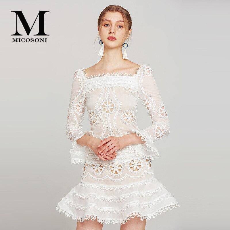 Haute couture blanc anniversaire robes col carré Sexy tenue de club ajouré Organza brodé Fit et Flare Mini robe pour femme