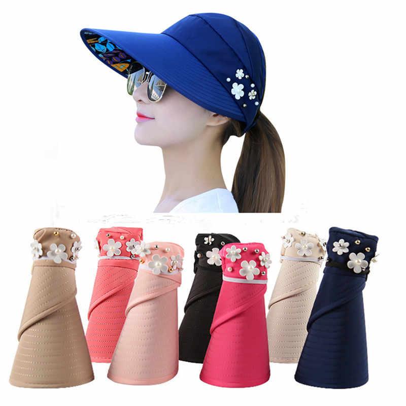 cc94fd2f79b 2018 New UV Protection Women Summer Beach Sun Hats flower faux Pearl decos Sun  Visor Hat