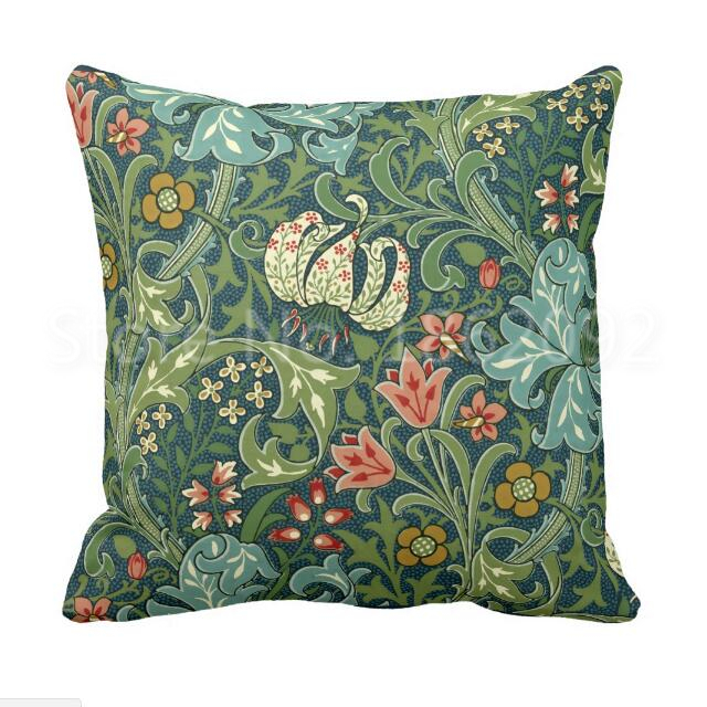 William Morris Golden Lily Major Luxury Designer Green Gold Cushion Pillow Cover