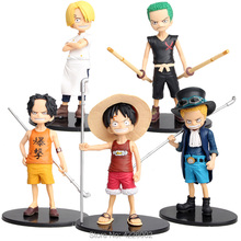 15cm One Piece Luffy Sabo Ace Roronoa Zoro Action Figures Vinsmoke Sanji Anime Childhood Model Collectible Kids Toy for Children цена 2017