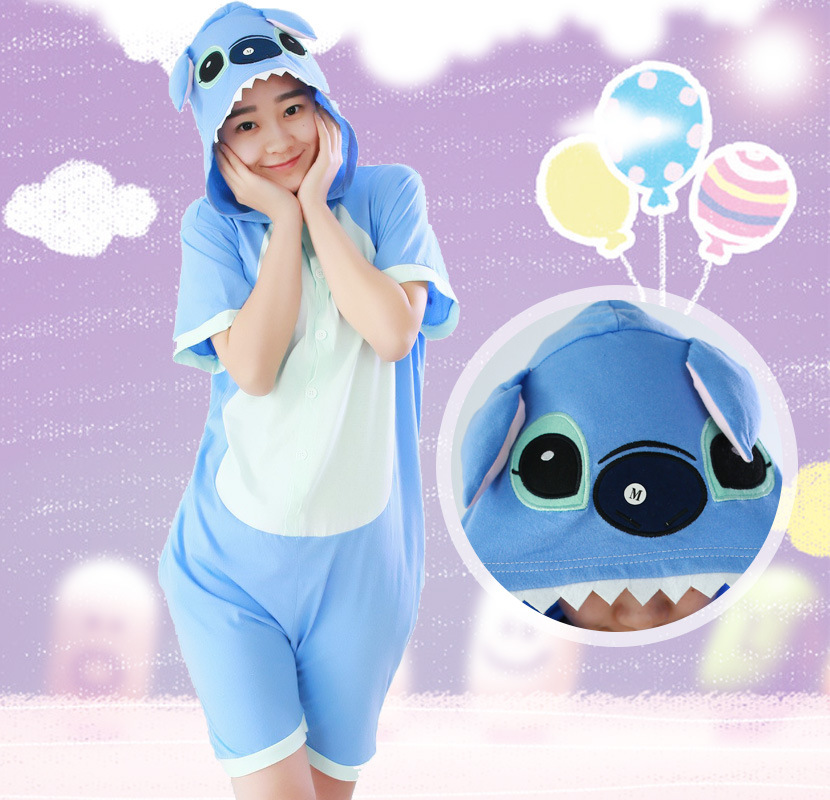 Blue Stitch pajamas Cosplay Summer new cartoon one-piece pajamas Pikachu cotton short-sleeved couple men and women suit