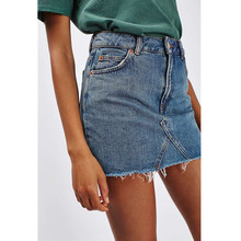 купить Women Summer Black Casual High Waist A-line Mini Skirts Denim Skirts High Street Pockets Button All-matched Saias Jeans Skirt дешево