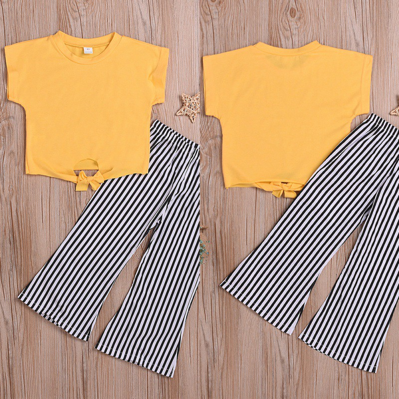 b773f7400 2Pcs/Set Summer Baby Girls Casual Solid Color Short Sleeve T-shirt  Tops+Striped Print Pants Suits Costume Set ~ Hot Deal June 2019