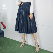FANSILANEN 2019 nueva llegada de moda de verano primavera de las mujeres  faldas Vintage trabajo denim sólido plisado Z80373 9d12ba8590f9