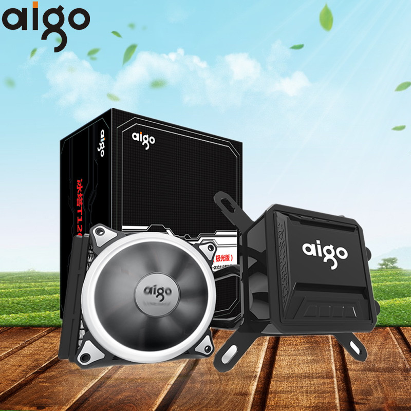 Aigo Aurora lluvia de enfriamiento de agua de torre de hielo T120 enfriador de agua con LED 120mm 4pin PWM ventilador de refrigeración de la CPU para inetel y AMD de CPU