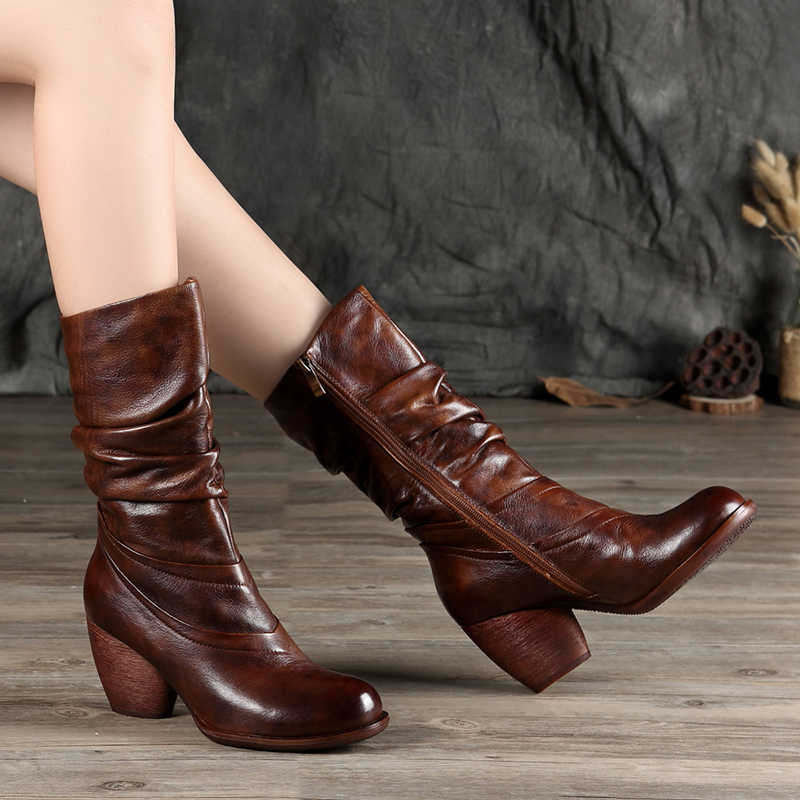 eb6e0d3723ff Wrinkle Mid-Calf Boots Women s Shoes 2018 New Design Real Cow Leather Lady  Booties Round