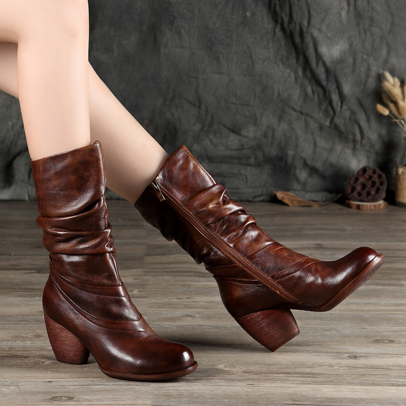 Wrinkle Mid Calf Boots Women's Shoes 2018 New Design Real Cow Leather Lady Booties Round Toe Europe Female High Heel Footwears-in Mid-Calf Boots from Shoes    1