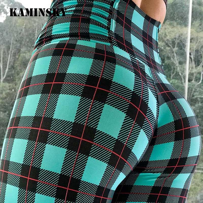 Kaminsky Print Leggings Plaid Printing Women Leggins High Waist Workout For Women Comfortable Casual Pants