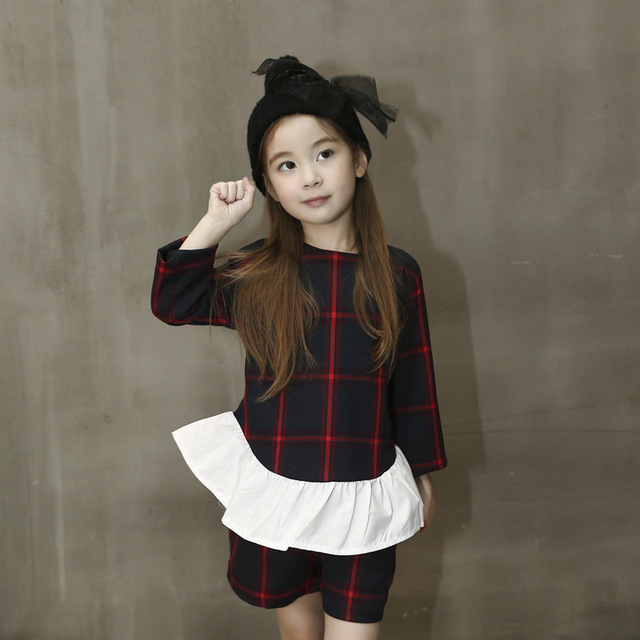 2016 Fashion Spring&Autumn Toddler Girl Clothing Long Sleeve Plaid Top+Shorts 2pcs Girl Clothes Set Korean Girls Outfits 2-7Y