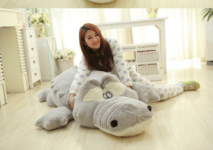 huge plush gray crocodile toy stuffed big cartoon crocodile doll birthday gift about 200cm the huge lovely hippo toy plush doll cartoon hippo doll gift toy about 160cm pink