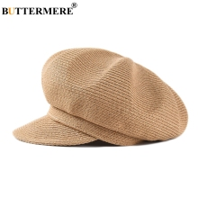 BUTTERMERE Newsboy Cap Women Camel Straw Berets For Girls Vintage Artist Baker Duckbill Summer Hat Female Painter Solid Kids