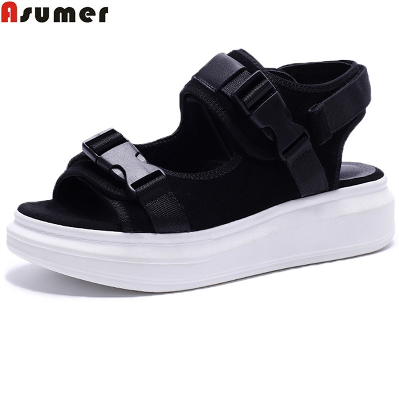 ASUMER black army green fashion summer ladies shoes casual comfortable flat platform women suede leather sandals big size 33-43 discount 2018 fashion leather casual flat shoes women sandals summer shoes flat hollow comfortable breathable size 34 44