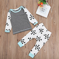 New Fashion Autumn Style Triangle Printed Cotton Casual Clothing Set Kids Clothes Set Long Sleeve Shirt Tops Pants Suit