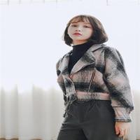 2016 otoño nueva Corea mujeres de la manera solapa grande chaqueta corta wave side de manga murciélago chaqueta de la tela escocesa femenina