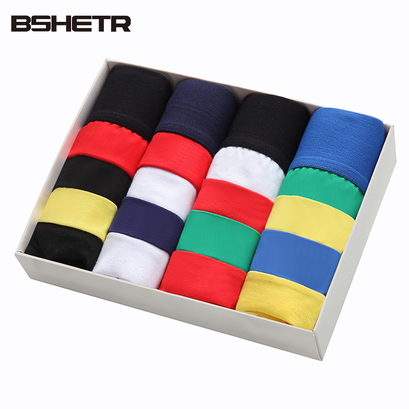 4 PCS/LOT Underwear Men BSHETR Brand Sexy Boxers Shorts Cotton Male Panties Homewear Underpants U convex pouch Cueca Trunks Pant