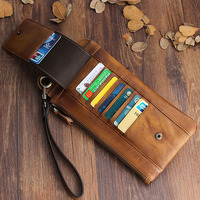 Genuine Cow Leather Long Mens Card Wallet Multifunction Wristlets Vintage Cowskin Purse Man Wallet Leather Male Large Clutch Bag