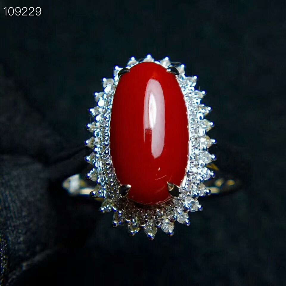 MeiBaPJ The Spirit of the Sea Precious Red Coral Gemstone Ring for Women Real 925