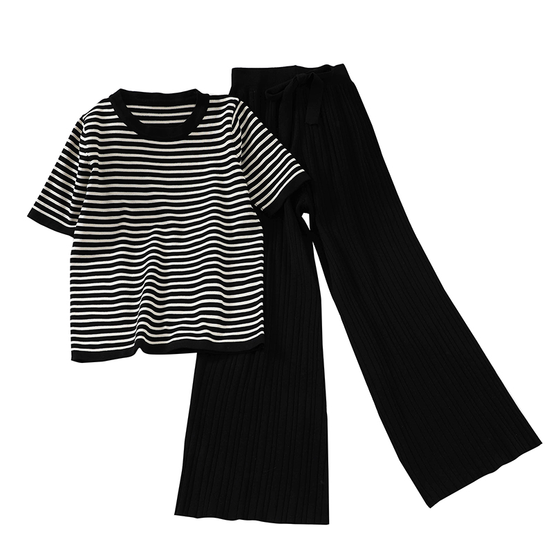 Image 5 - Chic New Loose Sweater Top High Waist Wide Leg Casual Pants Knitting Two Pieces Set Sweat Suits Matching Sets for WomenWomens Sets   -