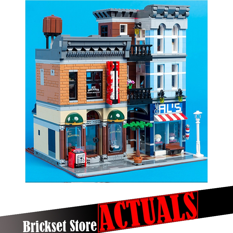 LEPIN 15011 Detective Office Street View Creator Building Blocks Bricks Toys DIY For Kids Model Compatible with legoINGly 10246 a toy a dream lepin 15008 2462pcs city street creator green grocer model building kits blocks bricks compatible 10185